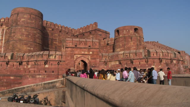 Tourists entering the red fort in Agra