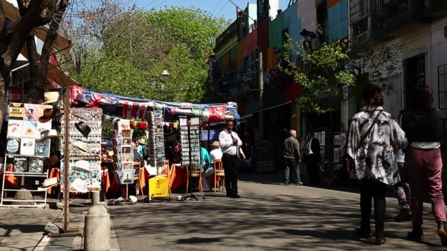 Tourists explore La Boca on September 30 2014 in Buenos Aires Argentina