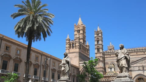 tourists explore palermo cathedral historical landmark in palermo, italy - female likeness stock videos & royalty-free footage