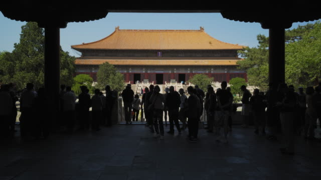 tourists exploring ling'en hall of changling tomb at ming dynasty tombs - beijing, china - ming tombs stock videos and b-roll footage