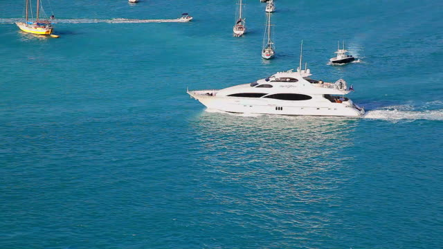 Tourists go to the boat excursion in Saint Thomas, Virgin Islands, Carribean