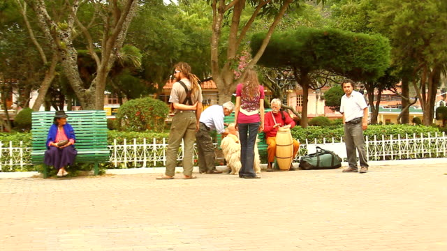 tourists hang out in vilcabamba´s central park. - loja stock videos and b-roll footage
