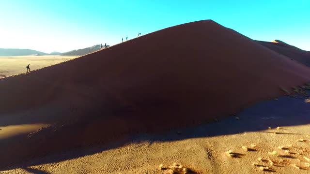 heli-touristen wandern auf die namibische sand dunes - bare tree stock-videos und b-roll-filmmaterial