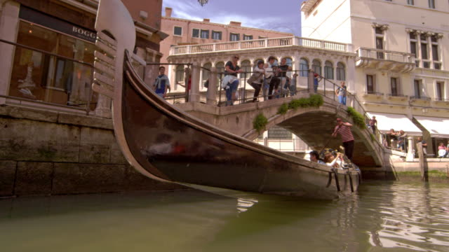 Tourists in a gondola in slow motion