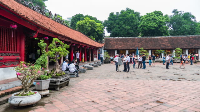 tourists in ancient temple, temple of literature, hanoi, vietnam, time lapse video - courtyard stock videos & royalty-free footage