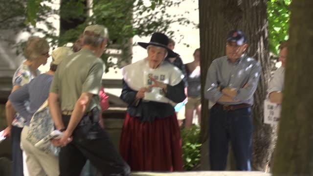 tourists in cemetery in boston, massachusetts. - pilgrim stock videos & royalty-free footage