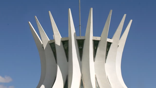 zo, ws, tourists in front of cathedral of brasilia, brasilia, brazil - brasilia stock videos and b-roll footage