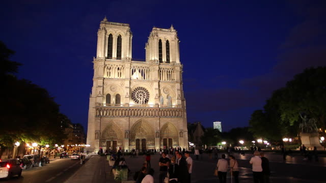 ws tourists in front of notre dame cathedral at night / paris, france - notre dame de paris stock videos and b-roll footage