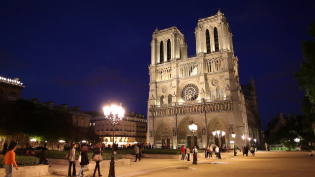 WS Tourists in front of Notre Dame cathedral at night / Paris, France