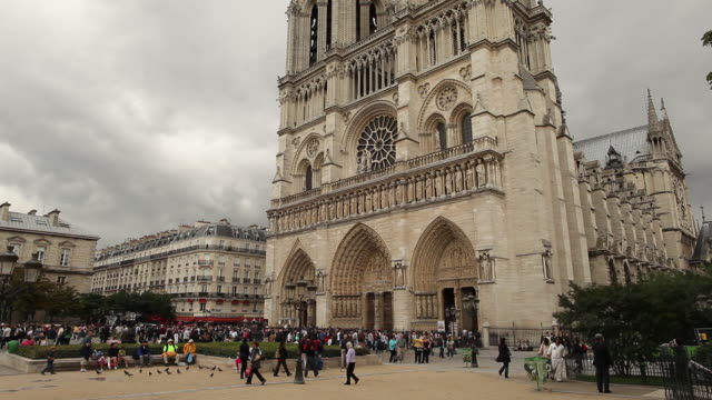WS Tourists in front of Notre Dame cathedral / Paris, France