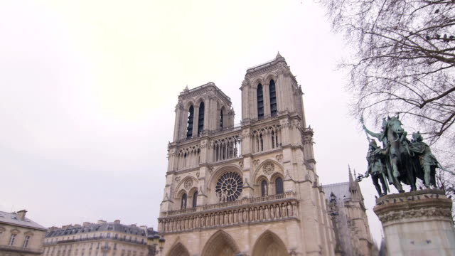 tourists in front of notre dame cathedral - notre dame de paris stock videos and b-roll footage