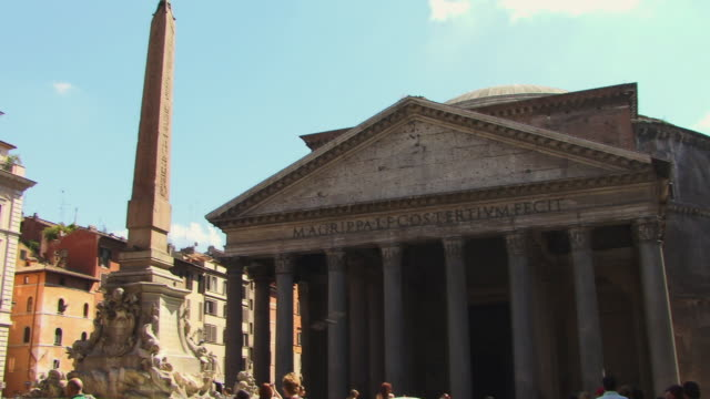 ms, tu, tourists in front of pantheon, piazza della rotonda, rome, italy - obelisk stock videos & royalty-free footage