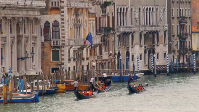 ms, tourists in gondolas on grand canal, venice, italy - venice italy stock videos & royalty-free footage