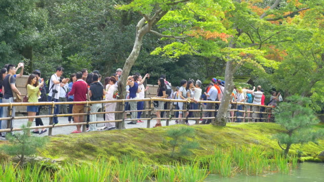 Tourists in Japanese garden
