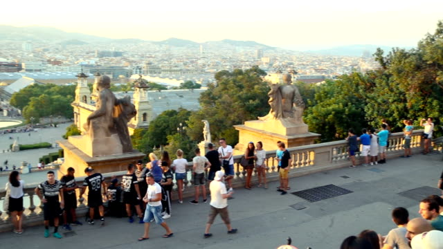 Tourists in Montjuic. Barcelona. Spain.