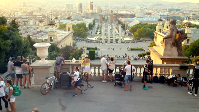 Tourists in Montjuic. Barcelona. Spain.
