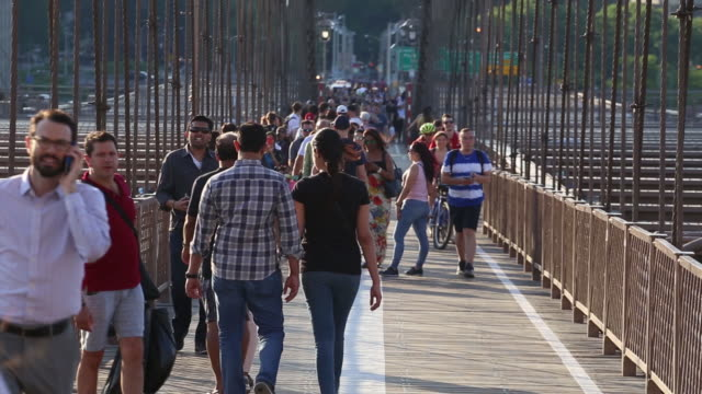 tourists in new york u.s. on monday, may 21, 2018. - brooklyn bridge stock videos & royalty-free footage