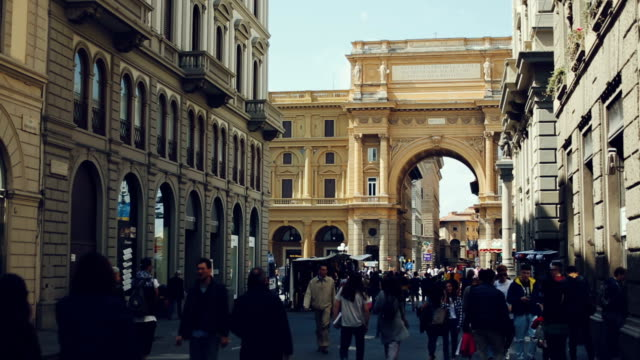 tourists in piazza della repubblica, florence, italy - florence italy stock videos and b-roll footage