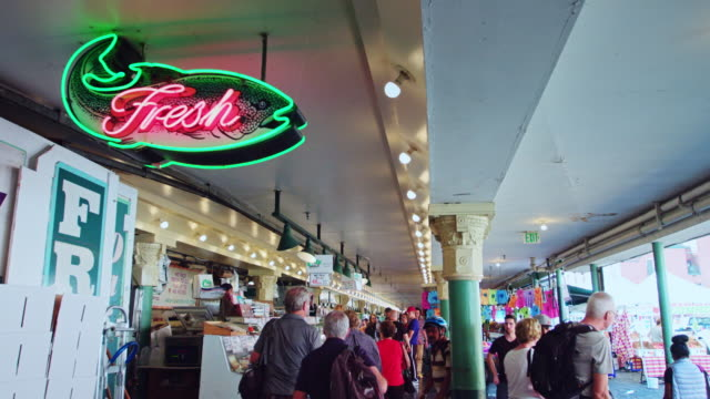 tourists in pike place market - pike place market stock videos and b-roll footage