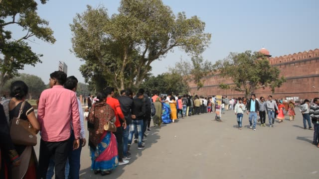 tourists in queue for entrance in red fort, delhi, india. - mughal empire stock videos and b-roll footage