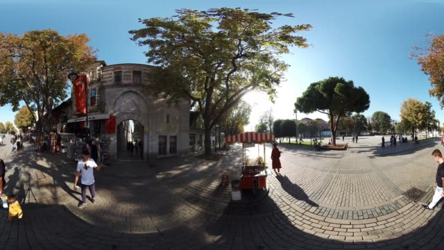 Tourists in Sultanahmet Square in Istanbul Turkey October 20 2017 There are many tourist visiting everyday to historical famous places to Topkapi...