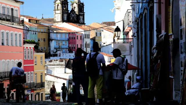 Tourists in the Historical center of Pelourinho, Salvador, Brazil, South America