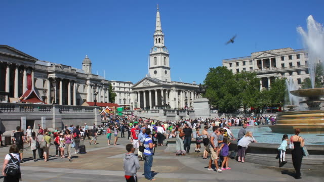 Tourists in Trafalgar Square