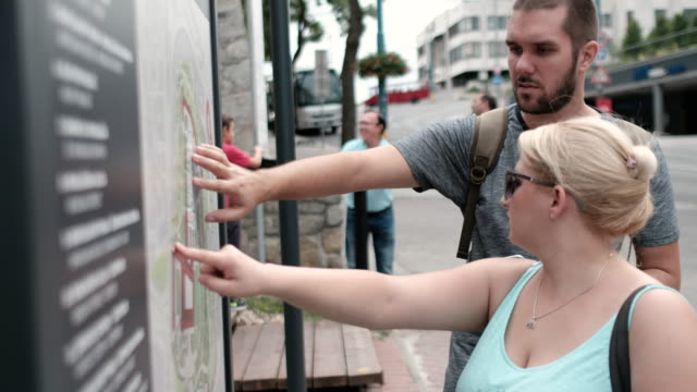 Tourists looking at the map of the city