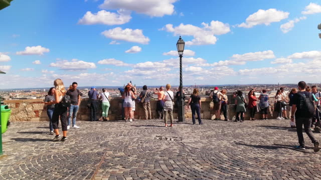tourists looking at view on budapest castle hill - castle hill budapest stock videos and b-roll footage