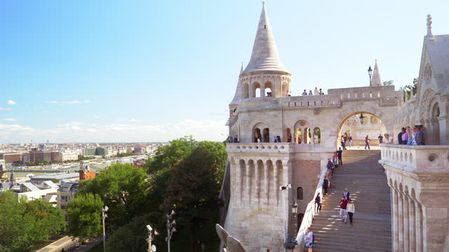 tourists looking at view on budapest fishermen's bastion - hungary stock videos & royalty-free footage