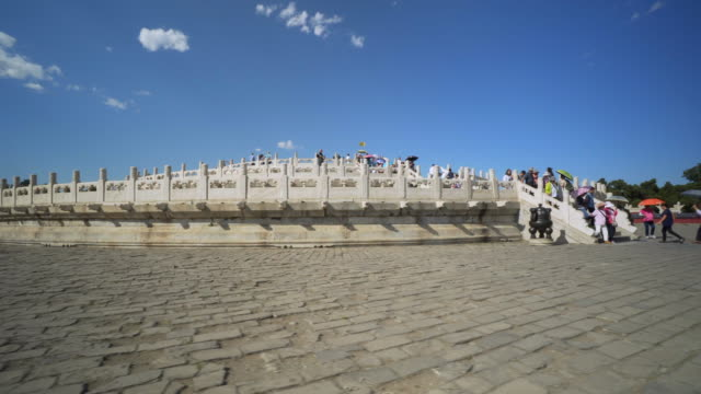 vidéos et rushes de tourists moving up and down on staircase at historic temple of heaven - beijing, china - temple du ciel