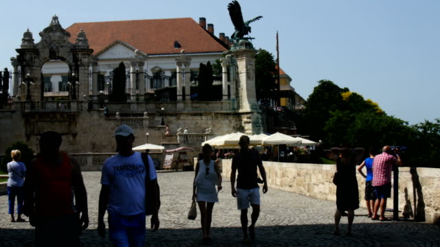 Tourists near Fountain of the Fishing Children, Buda Castle