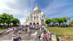 Tourists near the Basilica of the Sacra-Coeur church timelapse hyperlapse