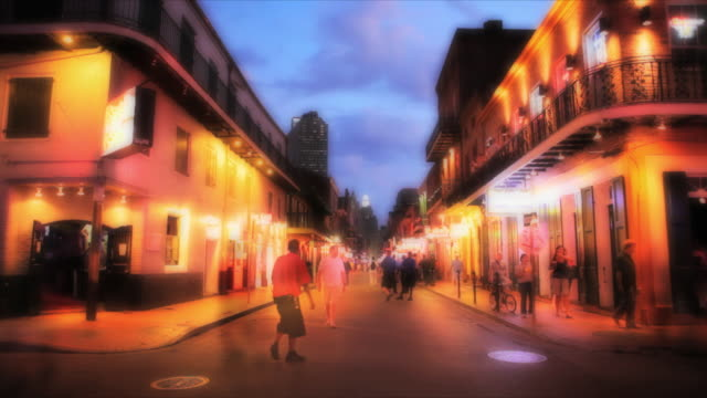 WS Tourists on Bourbon Street at night, New Orleans, Louisiana, USA