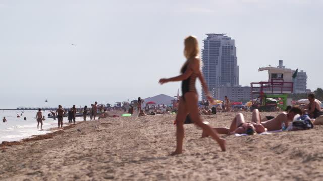 tourists on busy beach in miami, florida - miami beach stock videos & royalty-free footage