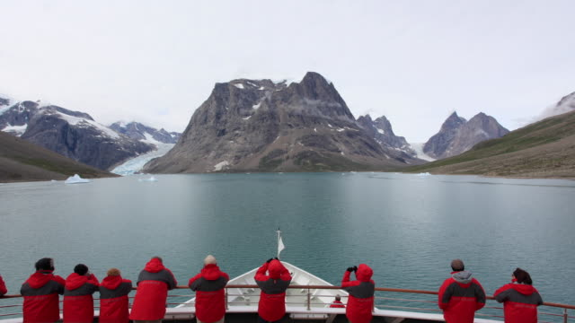 t/l pov tourists on icebreaker ship approaching skjoldungen fjord / greenland - majestic stock videos and b-roll footage