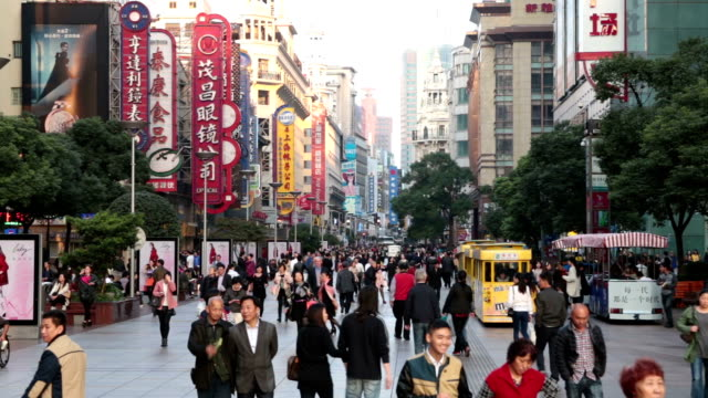 tourists on nanjing road - shanghai stock videos & royalty-free footage
