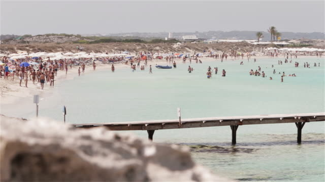 ls tourists on playa de ses illetes in formentera / ibiza, spain - balearic islands stock videos and b-roll footage