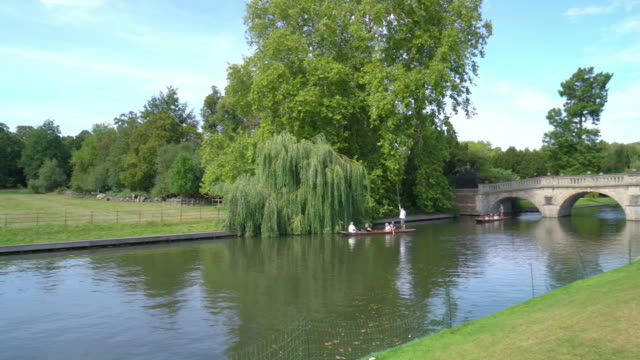 tourists on punt trip in cam river, cambridge - chapel stock videos & royalty-free footage