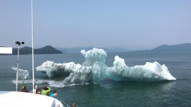 tourists on route to the columbia glacier in alaska, usa - 国有林点の映像素材/bロール