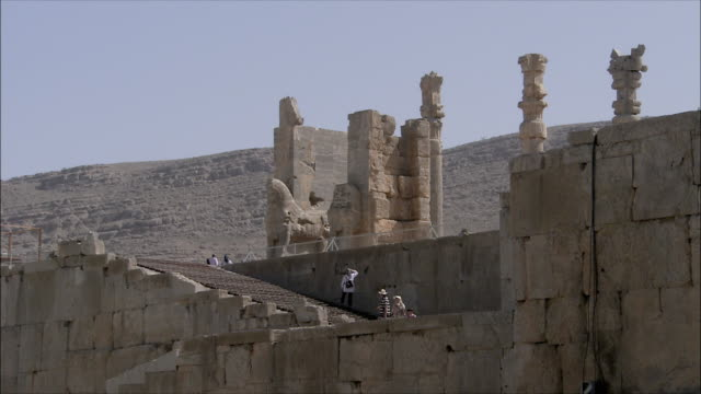 ws la tourists on steps of ancient city, persepolis, iran - persepoli video stock e b–roll