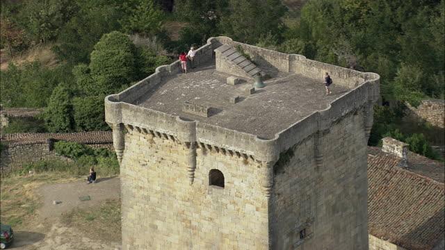 aerial cu zo ws tourists on tower of monterrei castle / monterrei, galicia, spain - besichtigung stock-videos und b-roll-filmmaterial