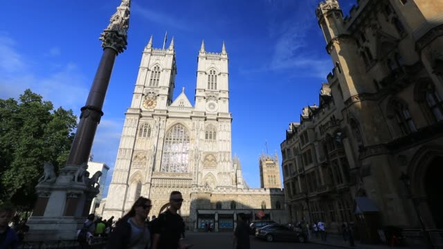 tourists outside westminster cathedral, london, uk. - westminster cathedral stock videos & royalty-free footage