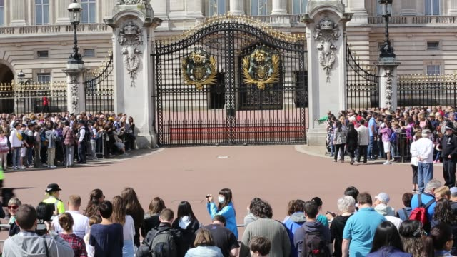 tourists queue to watch the changeing of the guard at buckingham palace, london, uk. - politician stock videos & royalty-free footage