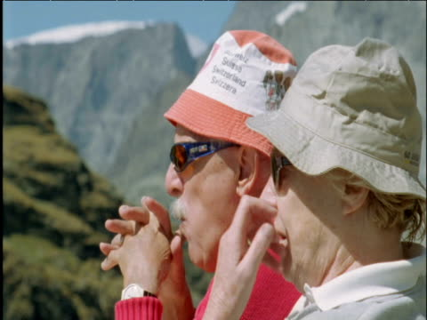 tourists relax at matterhorn switzerland - twin stock videos & royalty-free footage