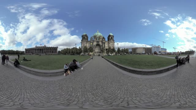 tourists resting and taking pictures in front of berlin cathedral immersive city scene tripod removal - monoscopic image stock videos & royalty-free footage