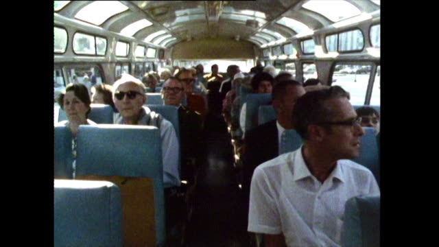 tourists riding on a tour bus around los angeles; 1972. - adults only videos stock videos & royalty-free footage