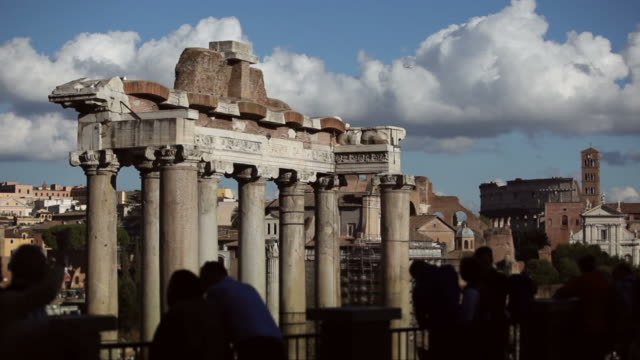 Tourists Silhouettes on the Ruins of Roman Forum