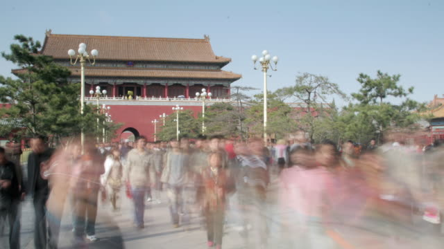 Tourists stream into Forbidden City through Tiananmen Gate, Tiananmen Square, Beijing