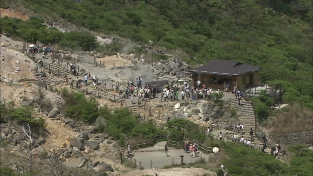 Tourists stroll around the Owaku-dani Valley in Kanagawa as volcanic steam rises from the ground.